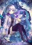 1girl black_legwear blue_background blue_butterfly blue_scarf bug butterfly coat earmuffs flower grey_hair insect long_sleeves looking_at_viewer mittens multicolored_hair scarf short_hair sitting snow snowflakes snowing streaked_hair thigh-highs vesper_(pixiv3568) white_butterfly white_hair