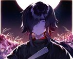 1boy black_hair closed_mouth commentary_request eyebrows_visible_through_hair flower full_moon fuuna_(conclusion) hair_over_one_eye highres looking_at_viewer male_focus moon night original outdoors pink_flower short_hair sidelocks sky solo star_(sky) starry_sky upper_body violet_eyes