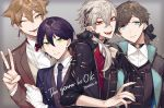 4boys bandaged_arm bandages bangs black_gloves black_hair black_jacket black_nails black_neckwear black_ribbon blue_eyes brown_hair brown_vest character_request choker closed_mouth collar collared_jacket collared_shirt ear_piercing earrings english_text eyebrows_visible_through_hair fangs gloves gradient gradient_background green_eyes grey_background hair_ribbon hand_on_another's_shoulder high_collar jacket jewelry kotobuki_(medetai) long_hair long_sleeves looking_at_viewer low_ponytail male_focus mole mole_under_eye multiple_boys necktie nijisanji one_eye_closed open_clothes open_jacket open_mouth piercing pointy_ears red_eyes red_neckwear ribbon ring shirt short_hair simple_background smile upper_body v vampire vest virtual_youtuber white_shirt yellow_eyes