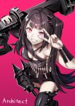 028ilc 1girl architect_(girls_frontline) asymmetrical_clothes bangs black_legwear breasts character_name eyebrows_visible_through_hair girls_frontline grin hair_ornament highres holding holding_weapon long_hair medium_breasts nail_polish one_side_up pale_skin pink_background pink_eyes purple_hair rocket_launcher sangvis_ferri shirt shorts simple_background smile solo striped striped_shirt thigh-highs v v_over_eye weapon