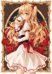 1girl ahoge black_bow blonde_hair blush bow breasts brown_eyes bug butterfly character_request copyright_request cup dress drinking eyebrows_visible_through_hair flower from_side hair_bow hair_ornament highres holding insect long_hair long_sleeves medium_breasts multicolored_bow red_bow red_flower red_neckwear red_ribbon red_rose ribbon rose solo standing teacup ttosom two_side_up very_long_hair white_dress yellow_eyes