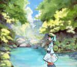 backpack bag blue_footwear blue_hair blue_shirt blue_skirt boots day feet_out_of_frame from_side green_headwear hair_bobbles hair_ornament holding kawashiro_nitori long_sleeves looking_at_viewer nature outdoors river rock shiratama_(hockey) shirt short_hair skirt smile touhou tree two_side_up
