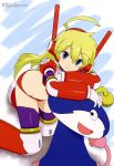 1girl absurdres anteater_ears armor artist_request bikini_armor blonde_hair character_request copyright_request highres long_hair looking_at_viewer mecha mecha_musume mechanical_legs thigh-highs