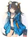 1girl animal_ear_fluff animal_ears belt bikini_top black_bikini_top black_hair black_shorts blue_eyes blue_jacket blue_nails candy cat_ears cat_girl cat_tail collarbone cowboy_shot fang flat_chest food hair_ribbon holding hood hood_down hooded_jacket jacket lollipop long_hair long_sleeves looking_at_viewer mouth_hold multicolored_hair nail_polish navel nintendo_switch open_clothes open_jacket original ribbon rk_(rktorinegi) short_shorts shorts sleeves_past_fingers sleeves_past_wrists solo standing stomach streaked_hair tail thighs two-tone_hair very_long_hair yellow_ribbon