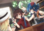 4girls ahoge anger_vein armpits black_jacket black_shirt blonde_hair blue_hair blue_neckwear blurry blurry_background brown_hair card card_game clothes_writing commentary depth_of_field dutch_angle english_commentary floating flying_sweatdrops from_behind ghost ghost_tail glasses green_eyes green_hair hair_ornament hair_over_one_eye hairclip hat headphones headphones_around_neck highres hitodama holding holding_card indoors jacket long_hair looking_at_another microskirt multiple_girls necktie necktie_grab neckwear_grab one_eye_closed open_mouth original pointy_ears ponytail red-framed_eyewear red_eyes red_shirt red_skirt sachisudesu scowl shirt short_hair short_sleeves sitting skirt sleeveless sleeveless_shirt smirk table teeth triangular_headpiece uno_(game) very_long_hair violet_eyes white_headwear white_shirt yellow_eyes