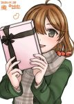 1girl ahoge alternate_costume bobokuboboku box brown_eyes brown_hair brown_scarf character_name commentary_request dated gift gift_box green_coat kantai_collection looking_at_viewer oboro_(kantai_collection) plaid plaid_scarf scarf short_hair smile solo twitter_username