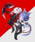 2boys ahoge animal_ears belt black_footwear black_nails black_sclera blue_eyes blue_hair broken_horn chain earrings fang fingernails grey_background grey_hair heterochromia high_heels holding holding_scythe holding_weapon horns jewelry long_hair medium_hair mole mole_under_eye multiple_boys ohayosayonara original parted_lips ponytail red_background red_sclera scar scythe sharp_fingernails silver_hair simple_background single_earring slit_pupils thorns two-tone_background weapon whip yellow_eyes
