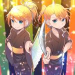 1boy 1girl alternate_costume alternate_hairstyle bangs black_kimono blonde_hair blue_eyes breasts brother_and_sister commentary_request cowboy_shot eyebrows_visible_through_hair fan frown hair_ribbon hand_on_hip highres holding holding_fan holding_sword holding_weapon japanese_clothes kagamine_len kagamine_rin katana kimono lens_flare light_particles light_rays looking_at_viewer obi petals ponytail reki_(arequa) ribbon sash siblings sidelocks small_breasts smile standing striped striped_background swept_bangs sword twins vocaloid weapon white_ribbon wide_sleeves yukata