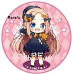 1girl :d abigail_williams_(fate/grand_order) argyle argyle_background bangs black_bow black_dress black_footwear black_headwear blonde_hair bloomers blue_eyes blush bow bug butterfly character_name chibi colored_shadow commentary_request dress fate/grand_order fate_(series) forehead full_body hair_bow hat insect long_hair long_sleeves looking_at_viewer object_hug open_mouth orange_bow outstretched_arm parted_bangs polka_dot polka_dot_bow sample shadow shoes sleeves_past_fingers sleeves_past_wrists smile solo standing star stuffed_animal stuffed_toy teddy_bear toko_(torisan_ren) underwear very_long_hair white_bloomers