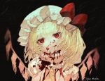 1girl artist_name black_background blonde_hair blood blood_on_face bloody_hands empty_eyes expressionless eyebrows_visible_through_hair flandre_scarlet hand_on_own_chin hat hat_ribbon head_tilt horror_(theme) looking_at_viewer mob_cap mochacot one_side_up puffy_short_sleeves puffy_sleeves red_eyes red_vest ribbon shirt short_hair short_sleeves solo texture touhou upper_body vest white_headwear white_shirt wings wrist_cuffs yellow_neckwear