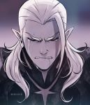 closed_eyes crying dark_colors depressed elf_ears eyelashes gradient_background looking_down lotor_(voltron) monochrome pointy_ears sad tears voltron voltron:_legendary_defender white_hair