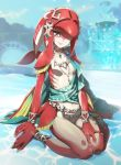 1girl anklet barefoot belt bracelet breasts fins fountain gills highres jewelry looking_at_viewer mipha monster_girl navel necklace nyoro_(nyoronyoro000) outdoors sitting smile solo tail the_legend_of_zelda wariza webbed_hands yellow_eyes zora