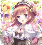 1girl :d atelier_(series) atelier_rorona black_bow blush bow brown_hair bug butterfly capelet flower gradient gradient_background hat heart insect looking_at_viewer open_mouth pink_background rororina_fryxell shizuki_ayame short_hair smile upper_body violet_eyes yellow_background