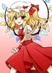 1girl :d blonde_hair clenched_hand commentary_request eyebrows_visible_through_hair fangs flandre_scarlet gradient gradient_background hat highres itou_yuuji legs_apart looking_at_viewer medium_hair mob_cap open_mouth outstretched_arm pink_background puffy_short_sleeves puffy_sleeves red_eyes red_skirt short_sleeves side_ponytail simple_background skirt skirt_set slit_pupils smile solo teeth touhou v-shaped_eyebrows wings wrist_cuffs
