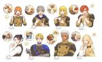 3girls 5boys annette_fantine_dominic apron ashe_ubert black_hair blonde_hair blue_eyes book bow brown_eyes closed_eyes closed_mouth coat cookie crossed_arms cup dark_skin dark_skinned_male dedue_molinaro dimitri_alexandre_blaiddyd earrings felix_hugo_fraldarius fire_emblem fire_emblem:_three_houses food from_side fur_trim garreg_mach_monastery_uniform green_eyes grey_hair hair_bow highres holding holding_cup holding_ladle hood hood_down ingrid_brandl_galatea jewelry ladle long_hair long_sleeves looking_to_the_side low_ponytail mercedes_von_martritz multiple_boys multiple_girls one_eye_closed open_book open_mouth orange_hair reading red_eyes redhead short_hair snrn_w sylvain_jose_gautier teacup twintails uniform upper_body younger