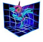 3d animated animated_gif bird bird_focus cortoony creature distortion floating full_body gen_4_pokemon horn pokemon pokemon_(creature) porygon-z reflection solo transparent_background trick_room_(pokemon) yellow_eyes