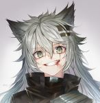 1girl absurdres animal_ear_fluff animal_ears anson_(13686564308) arknights bangs blood blood_from_mouth blood_on_face dated eyebrows_visible_through_hair green_eyes green_hair grey_background grey_eyes grin hair_between_eyes hair_ornament hairclip highres injury jacket lappland_(arknights) long_hair looking_at_viewer nosebleed portrait scar scar_across_eye signature silver_hair slit_pupils smile solo wolf_ears