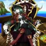 1girl aisha_(neopets) bangs blue_sky boots breasts clouds cloudy_sky coin commentary diamond_(gemstone) english_commentary frown green_hair hair_between_eyes hat high_heels long_hair long_sleeves looking_at_viewer medium_breasts mountain neopets ocean outdoors personification pirate pirate_hat serious ship skull sky solo throne treasure treasure_chest water watercraft white_skin wooden_floor yakuun yellow_eyes