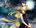 1girl blonde_hair blue_eyes blush commentary dark draik english_commentary eyelashes frown full_moon grass graveyard hat highres holding long_hair looking_at_viewer moon neopets night night_sky outdoors personification purple_headwear road sky solo tied_hair tomb upper_body very_long_hair yakuun