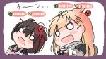 2girls bangs blonde_hair blush braid brown_hair chibi hair_flaps hair_ornament hair_ribbon hairclip kantai_collection long_hair messy_hair multiple_girls o_o open_mouth red_neckwear remodel_(kantai_collection) ribbon sailor_collar sattsu scarf school_uniform serafuku shigure_(kantai_collection) short_sleeves simple_background single_braid twitter_username upper_body white_background white_scarf yuudachi_(kantai_collection)
