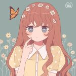 1girl bright_pupils brown_flower brown_hair bug butterfly collared_shirt flower grey_background grey_eyes hair_flower hair_ornament hand_up highres index_finger_raised insect long_hair nokanok orange_butterfly original see-through_sleeves shirt short_sleeves solo white_flower white_pupils yellow_flower yellow_shirt