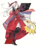 1girl armor axe cape closed_mouth edelgard_von_hresvelg fire_emblem fire_emblem:_three_houses fish_season44 full_body high_heels highres holding holding_axe long_hair side_ponytail simple_background solo violet_eyes white_background white_hair