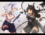 2girls adidas animal_ears black_hair blake_belladonna blue_eyes cat_ears gambol_shroud lulu-chan92 multiple_girls myrtenaster rapier rwby scabbard scar sheath shorts soccer_uniform sportswear sword weapon weiss_schnee white_hair yellow_eyes