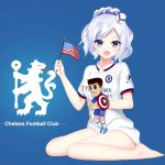 american_flag barefoot blue_eyes chelsea_fc commentary_request doll doll_hug hat no_panties open_mouth ponytail prinz_eugen1938 shield shirt sigsbee_(warship_girls_r) silver_hair sitting warship_girls_r