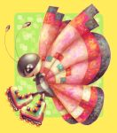:d black_eyes bug butterfly commentary cortoony creature english_commentary from_side full_body gen_6_pokemon happy insect no_humans open_mouth pokemon pokemon_(creature) profile roller_skates simple_background skates smile solo vivillon yellow_background