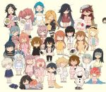 3_3 6+girls :o abukuma_(kantai_collection) ahoge akebono_(kantai_collection) alternate_hairstyle arms_up asashio_(kantai_collection) atlanta_(kantai_collection) bangs blanket blonde_hair blue_hair blush braid brown_hair cake chibi closed_eyes closed_mouth crossed_arms dress etorofu_(kantai_collection) eye_mask eyebrows_visible_through_hair eyewear_removed food fubuki_(kantai_collection) fumizuki_(kantai_collection) glasses grey_hair hair_down half-closed_eyes hat hatsushimo_(kantai_collection) hatsuyuki_(kantai_collection) hayashimo_(kantai_collection) hibiki_(kantai_collection) highres holding holding_hands horns ikazuchi_(kantai_collection) jervis_(kantai_collection) kantai_collection kasumi_(kantai_collection) kitakami_(kantai_collection) kiyoshimo_(kantai_collection) long_hair lying messy_hair mochizuki_(kantai_collection) multiple_girls newspaper nisshin_(kantai_collection) northern_ocean_hime oboro_(kantai_collection) one_eye_closed open_mouth otoufu pajamas pants pillow pink_hair purple_hair redhead ryuujou_(kantai_collection) saliva samidare_(kantai_collection) sazanami_(kantai_collection) sendai_(kantai_collection) sheep shinkaisei-kan shiranui_(kantai_collection) short_hair silver_hair simple_background sleepy smile standing stretch striped striped_pajamas stuffed_animal stuffed_toy tank_top tears thought_bubble ushio_(kantai_collection) uzuki_(kantai_collection) wakaba_(kantai_collection) white_hair yawning yellow_background z1_leberecht_maass_(kantai_collection)