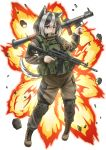 1girl ak-12 animal_ears assault_rifle black_hair blue_eyes chinese_commentary commentary_request copyright_request dog_ears english_commentary explosion foregrip full_body gun heterochromia highres holding holding_gun holding_weapon husky jpc knee_pads load_bearing_vest military multicolored_hair rifle rocket_launcher rpg rpg-7 solo tail trigger_discipline two-tone_hair weapon white_background white_hair