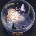 1girl absurdres bare_shoulders barefoot blonde_hair blue_eyes collarbone commentary dress food highres long_hair looking_at_viewer lying marshmallow merry_christmas on_side original snowman solo taemin tagme white_dress winter