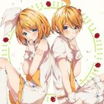 1boy 1girl arm_tattoo back-to-back bangs blonde_hair blue_eyes blush border bow brother_and_sister commentary_request covering_mouth dress eyebrows_behind_hair finger_to_chin flower_(symbol) hair_bow hair_ornament hairclip headphones highres interlocked_fingers kagamine_len kagamine_rin kneehighs lens_flare looking_at_viewer manya_sora neckerchief necktie number_tattoo petals sailor_collar shirt short_hair short_sleeves shorts siblings sidelocks sitting skirt skirt_under_dress sleeveless sleeveless_dress tattoo tied_hair twins vocaloid white_background white_border white_bow white_dress white_legwear white_sailor_collar white_shirt white_shorts wrist_cuffs yellow_nails yellow_neckwear yellow_skirt