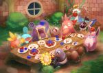 >_< =3 annoyed apple apple_core arm_up artist_name belly berry bidoof black_eyes blue_eyes blush blush_stickers breath buck_teeth bush chatot chimecho closed_eyes commentary_request corphish croagunk diglett drooling dugtrio eating everyone floating flying flying_sweatdrops food food_on_face food_theft from_behind fruit fushigi_no_dungeon gen_1_pokemon gen_2_pokemon gen_3_pokemon gen_4_pokemon grass half-closed_eyes hand_up happy holding indoors jumping kikuyoshi_(tracco) light_blush looking_up loudred lying motion_lines mudkip night no_humans object_on_head on_back open_mouth outline plant plate pokemon pokemon_(creature) pokemon_(game) pokemon_fushigi_no_dungeon signature smile sparkle squinting standing sunflora table tongue torchic uvula vines water wigglytuff window yellow_sclera