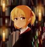 1girl aldaris alternate_costume bangs blonde_hair blurry book bookshelf candle cloak collared_shirt commentary_request crystal depth_of_field flandre_scarlet glasses highres holding holding_book library long_sleeves looking_at_viewer necktie no_hat no_headwear orange_eyes pointy_ears red_ribbon ribbon round_eyewear shirt short_hair side_ponytail solo striped striped_neckwear touhou white_shirt wings