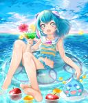 1girl :d apple bangs barefoot bikini bikini_skirt blue_bikini blue_eyes blue_hair blue_sky breasts clouds collarbone cup day eyebrows_visible_through_hair flower food fruit hagoromo_lala hibiscus highlights highres holding holding_cup innertube long_hair looking_at_viewer midriff multicolored_hair navel ocean open_mouth outdoors pink_flower precure prunce_(precure) shiny shiny_hair sitting sky small_breasts smile soles solo star_twinkle_precure stomach striped_bikini_top swimsuit yuutarou_(fukiiincho)