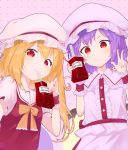 2girls :> arms_up bat_wings blonde_hair blood blood_bag blouse blue_hair blush bubble_tea commentary_request drinking_blood drinking_straw eyebrows_visible_through_hair fingernails flandre_scarlet hat highres kanpa_(campagne_9) mob_cap multiple_girls nail_polish neck_ribbon one_side_up pink_background pink_blouse pink_skirt pinky_out polka_dot polka_dot_background puffy_short_sleeves puffy_sleeves red_eyes red_nails red_skirt red_vest remilia_scarlet ribbon self_shot shirt short_hair short_sleeves siblings sisters skirt skirt_set slit_pupils smile standing touhou upper_body vest w white_shirt wings wrist_cuffs yellow_neckwear