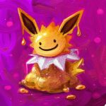 commentary cortoony creature ditto english_commentary gen_1_pokemon jolteon looking_at_viewer melting no_humans pokemon pokemon_(creature) purple_background smile solo transform_(pokemon) transformed_ditto