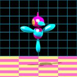 3d animated animated_gif bird bird_focus black_background checkered checkered_floor commentary cortoony creature english_commentary falling floating full_body gen_4_pokemon jumping no_humans pokemon pokemon_(creature) porygon-z shadow solo yellow_eyes