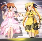 2girls black_bow black_eyes blonde_hair blush bow brown_hair collarbone commentary_request diesel-turbo dress eyebrows_visible_through_hair fate_testarossa flat_chest hair_bow highres holding holding_microphone layered_dress long_hair looking_at_another lyrical_nanoha mahou_shoujo_lyrical_nanoha microphone multiple_girls open_mouth pink_dress red_eyes scrunchie shadow short_hair short_sleeves sidelocks smile takamachi_nanoha twintails white_bow wrist_scrunchie wristband yellow_dress