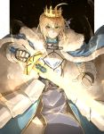 1girl ahoge armor armored_dress artoria_pendragon_(all) blonde_hair cape crown excalibur fate/grand_order fate/stay_night fate_(series) fur-trimmed_cape fur_trim gauntlets glowing glowing_sword glowing_weapon green_eyes highres kan_(aaaaari35) saber smile weapon