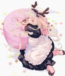 1girl animal_ears antlers apron arm_rest black_dress blonde_hair closed_eyes commentary_request doughnut dress eating food furry highres hooves kishibe long_hair macaron maid maid_headdress original paws reindeer_antlers reindeer_ears reindeer_tail simple_background sitting solo tail white_apron white_background