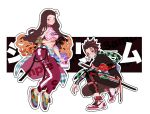 1boy 1girl adapted_costume black_hair brown_hair clothes_around_waist collar commentary commentary_request contemporary earrings forehead full_body hair_ribbon halter_top halterneck jewelry kamado_nezuko kamado_tanjirou kimetsu_no_yaiba long_hair multicolored_hair nike orange_hair orange_ribbon orange_sekaii pants pink_eyes product_placement redhead ribbon shoes sneakers supreme two-tone_hair very_long_hair