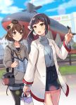 2girls ahoge alternate_costume bag bangs black_legwear blurry blurry_background blush brown_eyes buttons clouds coat day denim denim_shorts eyebrows_visible_through_hair fujinami_(kantai_collection) hair_ribbon handbag headgear highres holding hood hood_down hoodie jacket jewelry kantai_collection long_sleeves map multiple_girls necklace open_mouth outdoors pantyhose pocket pointing ponytail purple_hair ribbon senbei_(senbe_i) short_hair shorts side_ponytail skirt sky smile sweater turtleneck turtleneck_sweater yukikaze_(kantai_collection)