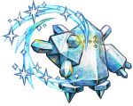 commentary cortoony creature english_commentary gen_3_pokemon icy_wind_(pokemon) legendary_pokemon no_humans pokemon pokemon_(creature) regice solo standing transparent_background wind