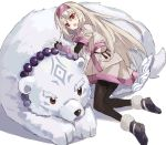 1girl :d ainu_clothes bead_necklace beads bear black_legwear commentary fate/grand_order fate_(series) fingerless_gloves full_body gloves grey_hair hair_tubes headband highres illyasviel_von_einzbern jewelry long_hair lying_on_another namiharuru necklace open_mouth pantyhose polar_bear red_eyes simple_background sitonai smile very_long_hair white_background