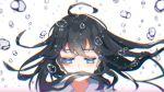 1girl air_bubble black_hair blue_eyes braid bubble guitaro_(yabasaki_taro) highres izumo_kasumi_(nijisanji) long_hair nijisanji solo underwater virtual_youtuber white_background