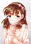 1girl absurdres aqua_eyes bow breath brown_hair casual chain coat cold gold_chain hair_bow hairband highres idolmaster idolmaster_cinderella_girls jewelry looking_at_viewer portrait sakuma_mayu silky_(silky_alice) snow snowflakes solo surgical_mask