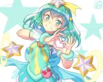 1girl aqua_eyes aqua_hair bracelet commentary_request cure_milky grin hair_between_eyes hair_ornament heart heart_hands jewelry long_hair looking_at_viewer pairan pointy_ears precure smile solo star star-shaped_pupils star_twinkle_precure symbol-shaped_pupils