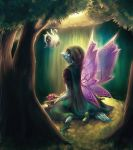 2013 cape commentary dark day drugal english_commentary eye_contact fairy_wings flying forest grass highres hood hoodie kneeling krawk light looking_at_another nature neopets payoki shoes signature sunlight tree wings yellow_eyes